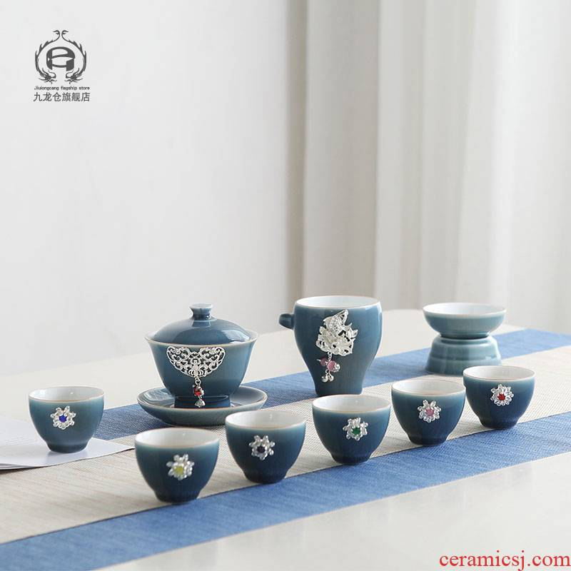 DH jingdezhen kung fu tea set of a complete set of small household ceramic teapot teacup tureen simple set of tea taking