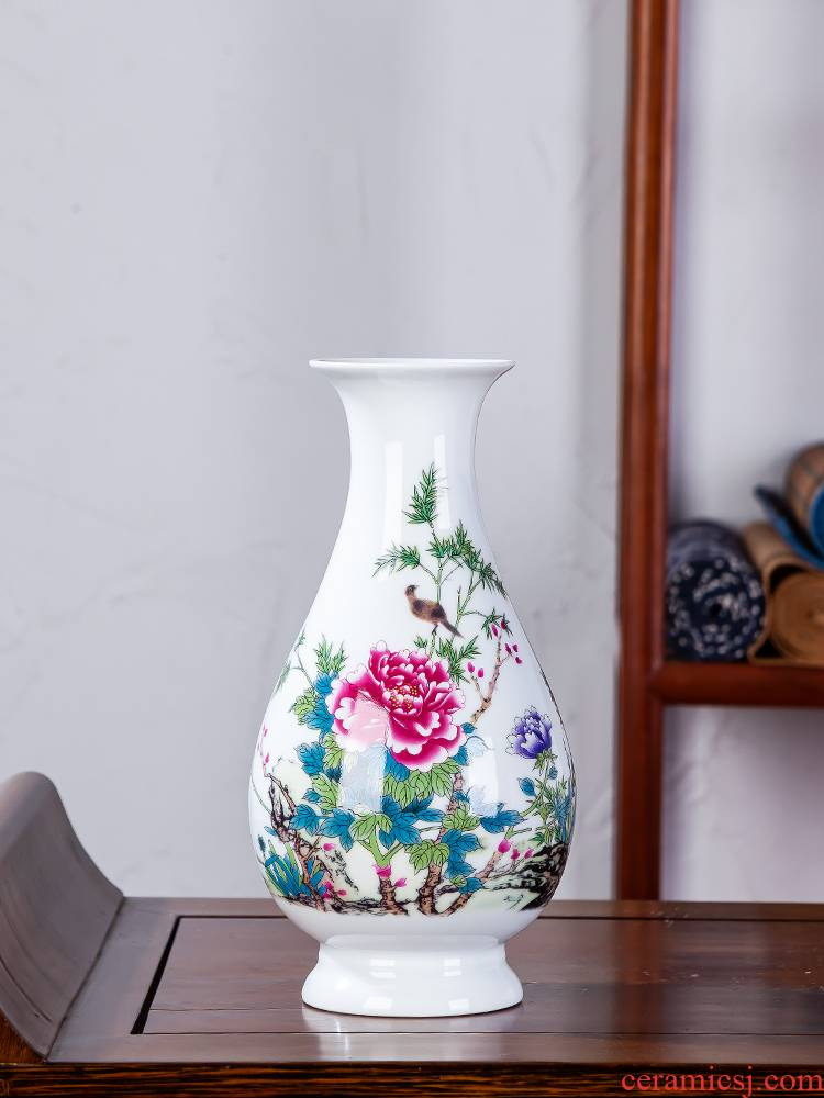 Jingdezhen ceramics floret bottle furnishing articles dried flower arranging flowers to decorate the modern Chinese jade guanyin sitting room net bottles of furnishing articles