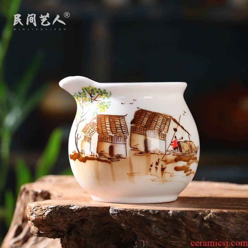 Jingdezhen hand - made jiangnan kung fu tea accessories just a cup of tea tea ware ceramic fair suit cup sea points