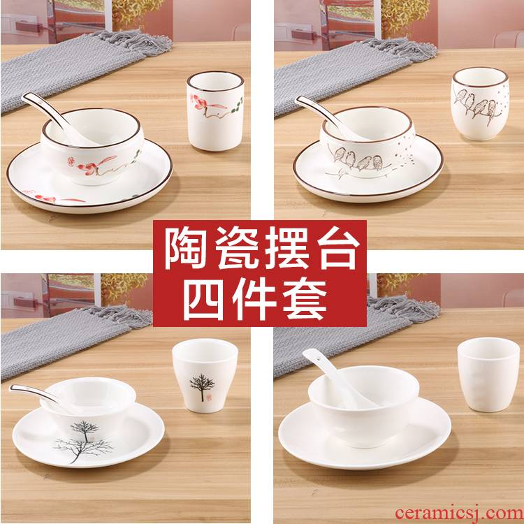 Five - star hotel, hotel supplies pure white ceramic tableware suit to upscale office 4 times hotel restaurant dishes