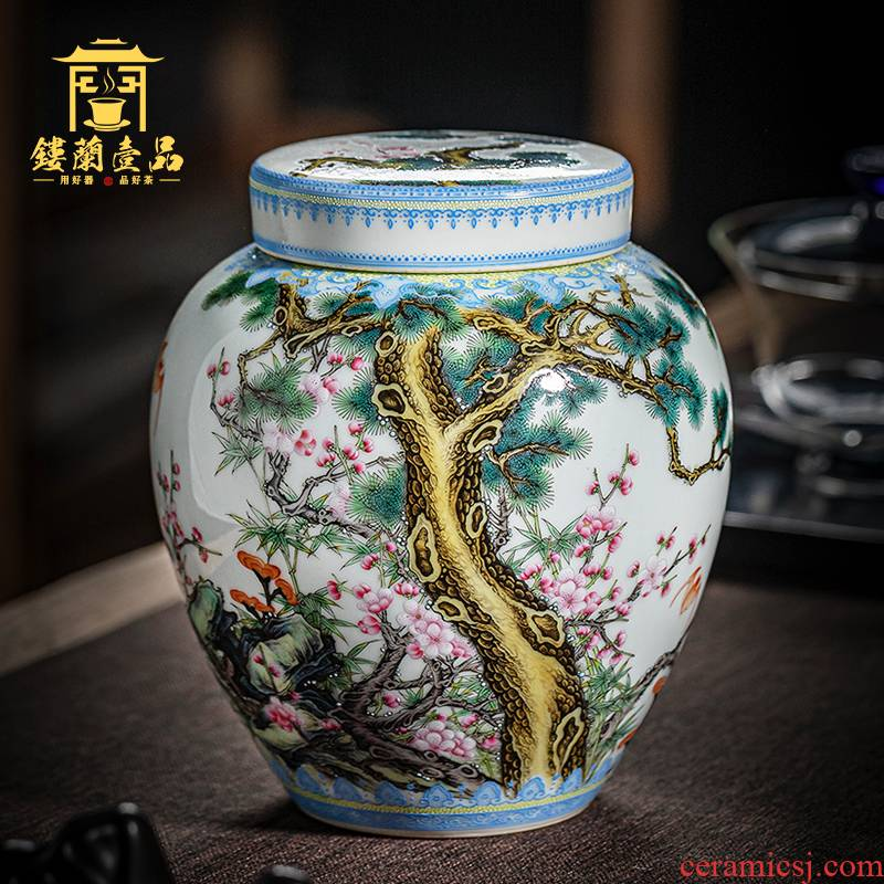 Jingdezhen ceramic hand - made pastel shochiku mei caddy fixings all hand receive tank receives process tea warehouse storage place