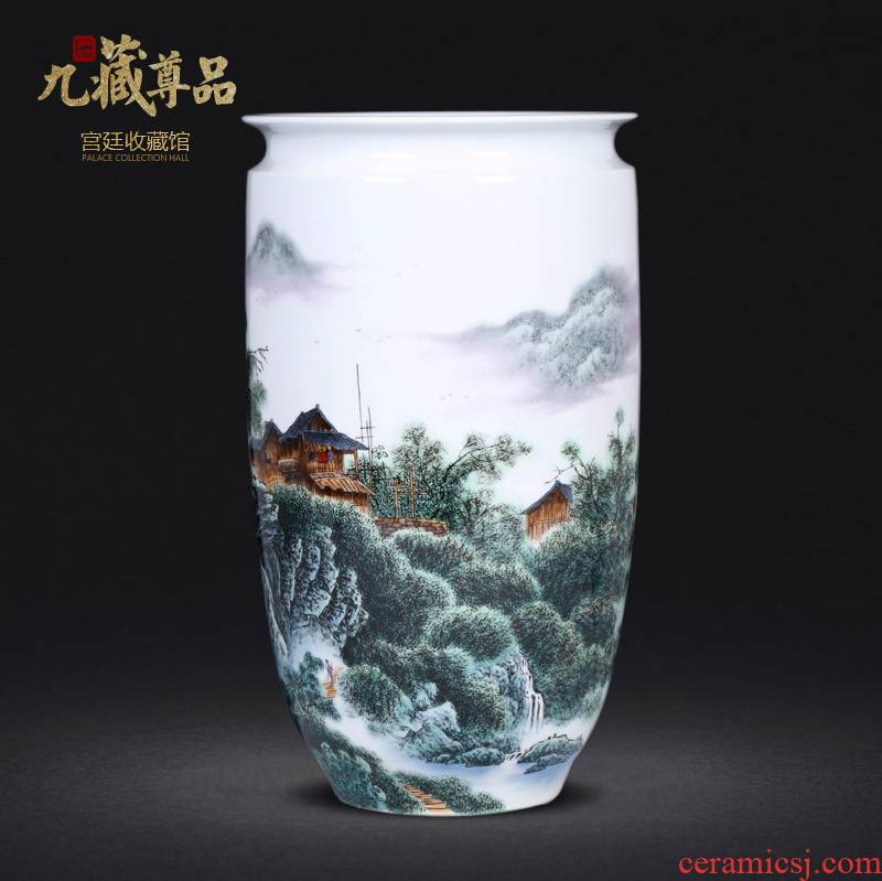 Jingdezhen ceramics hand - made lake house vases, new Chinese style living room TV ark, home decoration furnishing articles arranging flowers