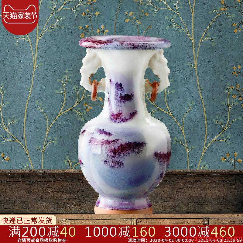 Jingdezhen ceramic antique jun porcelain floret bottle arranging flowers adornment handicraft furnishing articles sitting room of Chinese style household porcelain