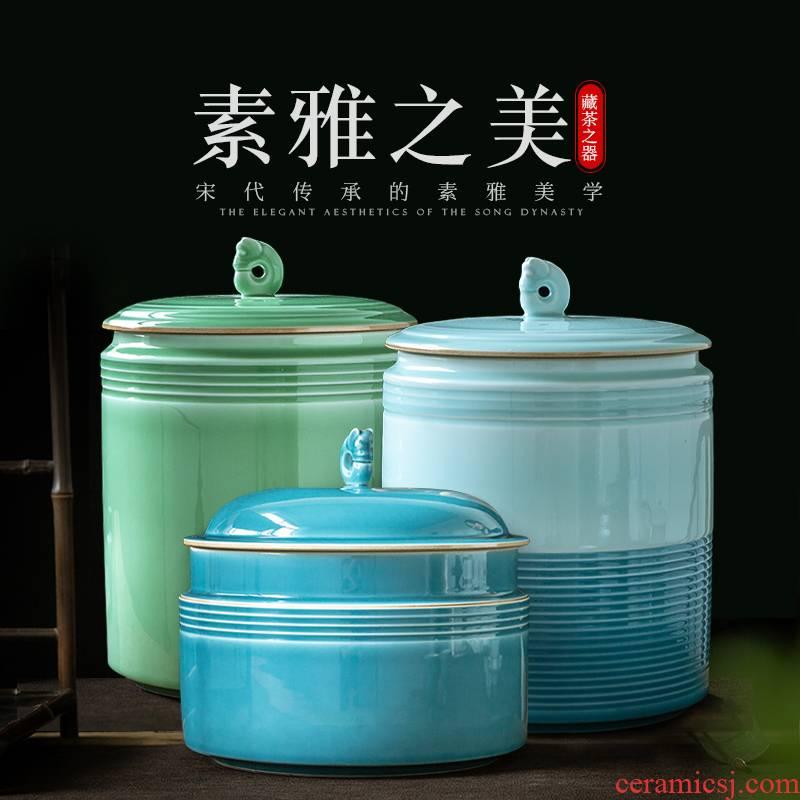 Jingdezhen ceramic seal by hand shadow green tea pot of tea cake tea box wake tea storage POTS tea urn