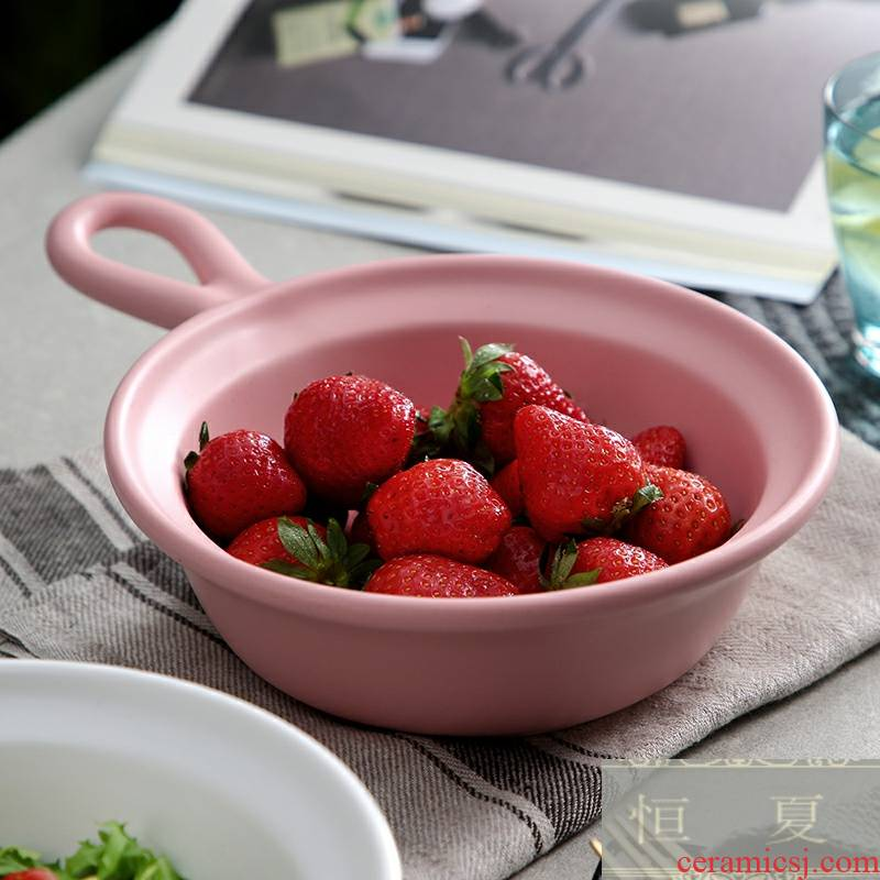 Large capacity with the handle fruit salad bowl baking bowl paella household ceramic bowl with the handle roasted bowl dessert deep bowl