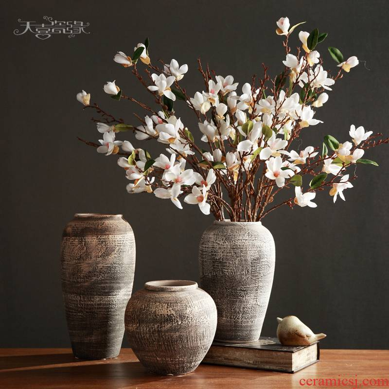 Restoring ancient ways of jingdezhen pottery coarse pottery flower arranging implement creative living room TV cabinet dry flower vase household adornment furnishing articles