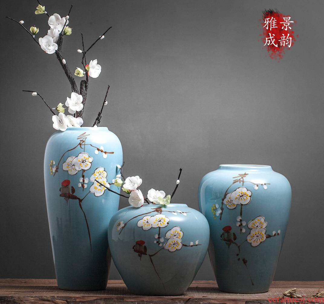 Jingdezhen ceramic new Chinese style living room table flower arranging flower vase furnishing articles home TV ark, porcelain arts and crafts