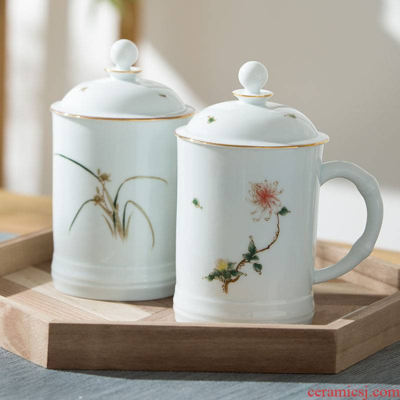 Jingdezhen ceramic cups large capacity with cover tea cup household green white porcelain teacup office cup mark cup