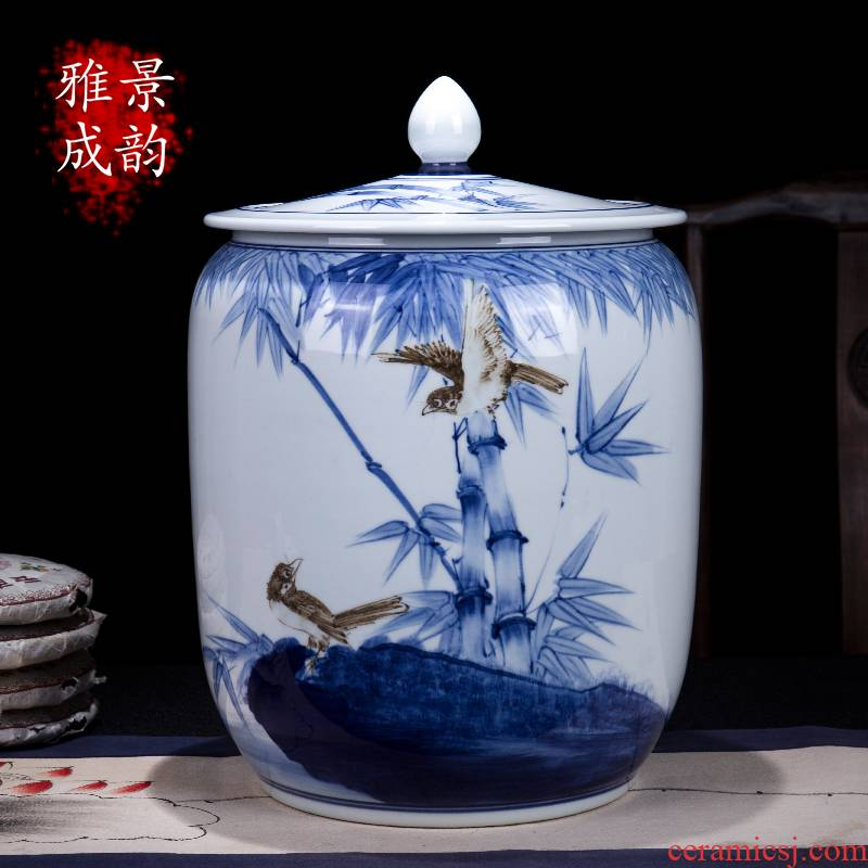 The New Chinese blue and white porcelain of jingdezhen ceramics means safe bamboo caddy fixings household seal barrel storage tank