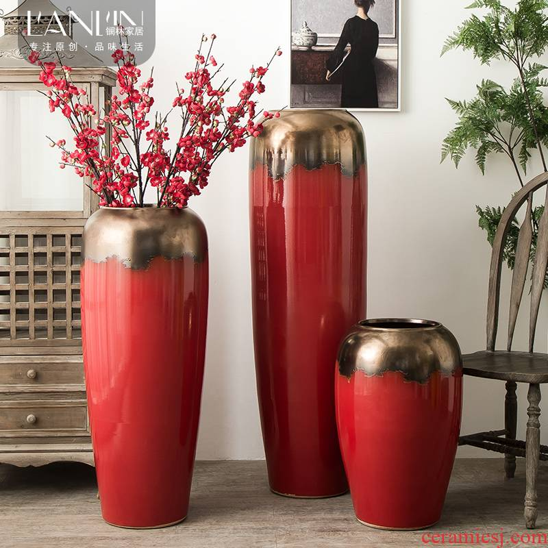 Jingdezhen ceramic vase big sitting room dry flower vase planting Chinese red modern European - style villa hotel decoration furnishing articles