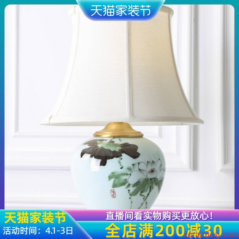 New Chinese style full copper ceramic desk lamp sitting room chandeliers creative zen hand - made decorative hotel bridal chamber of bedroom the head of a bed