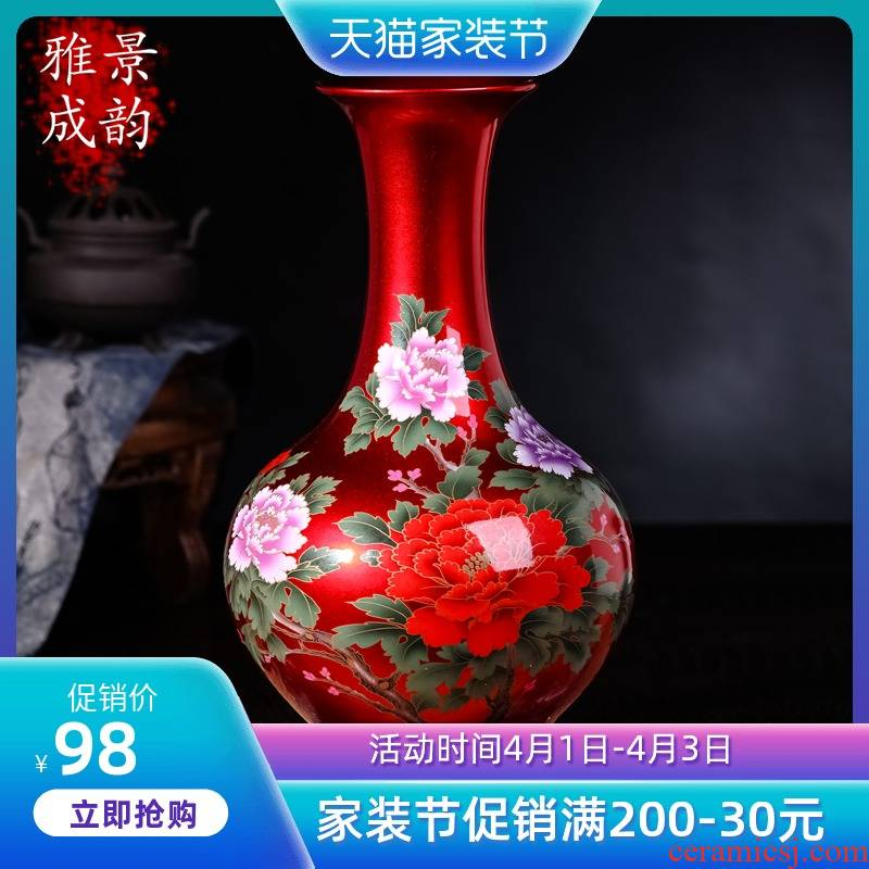 China jingdezhen ceramics table red place vases, flower arranging new Chinese vase sitting room TV ark