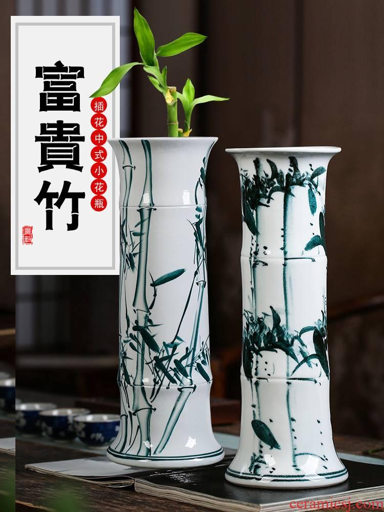 Jingdezhen ceramic tube lucky bamboo vases, flower arranging furnishing articles sitting room be born king straight aquatic culture flower arrangement