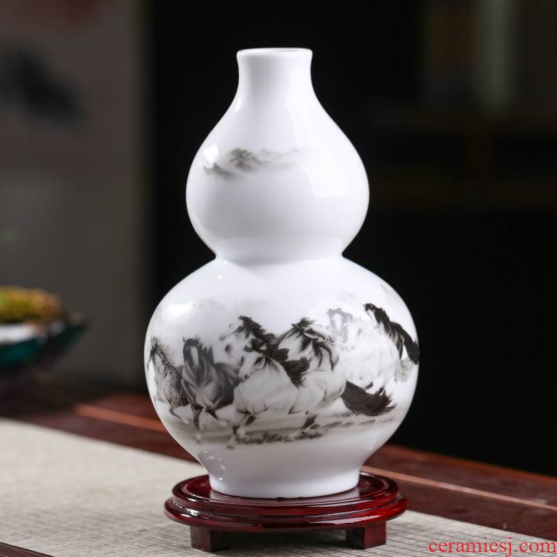 Jingdezhen ceramics, vases, flower arranging gourd furnishing articles town curtilage sitting room rich ancient frame of new Chinese style household act the role ofing is tasted