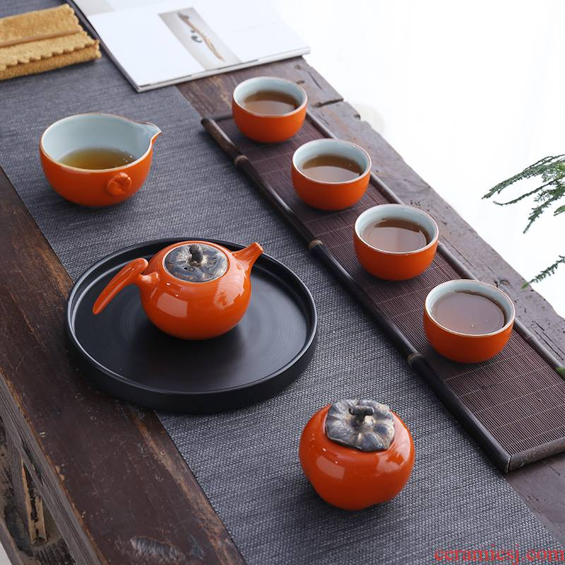 Dragon invertors ceramic kung fu tea set travel portable suit household contracted dry tea tray was small Japanese persimmon persimmon