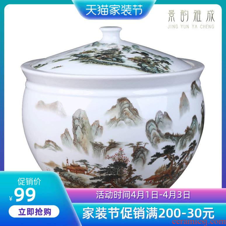 Jingdezhen blue and white landscape ceramic POTS sub storage tank large storage tank general receive new Chinese style furnishing articles