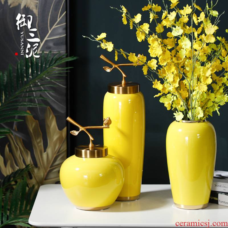 I and contracted the new Chinese style living room table flower arranging furnishing articles ceramic vases household dry flower adornment ou