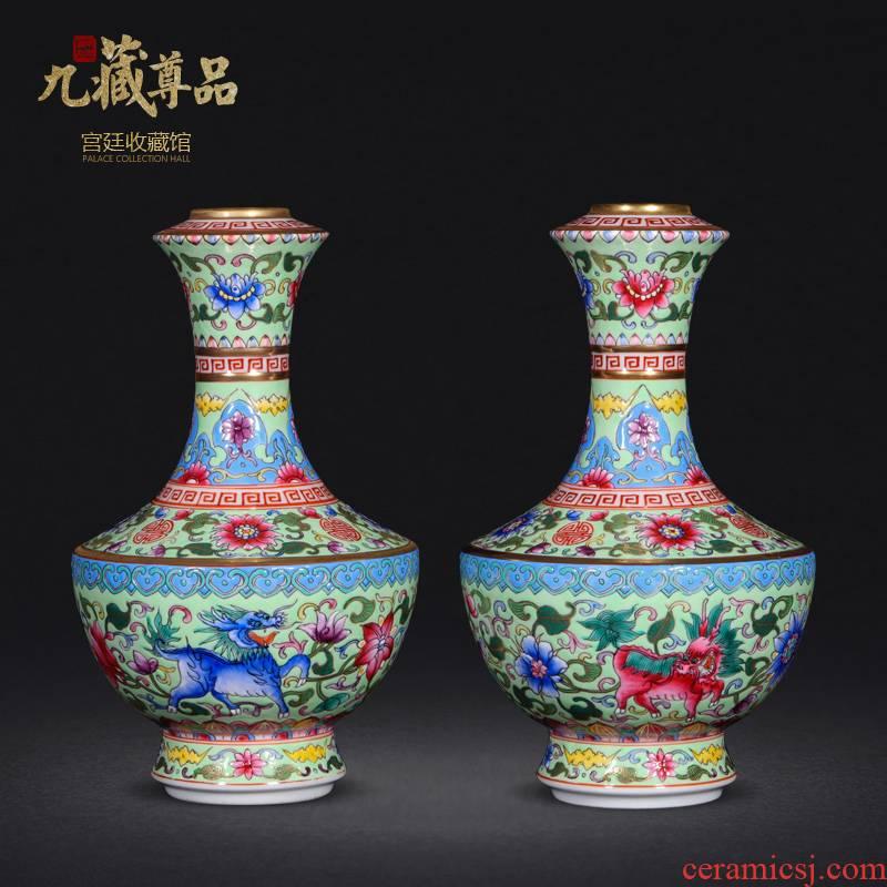 Jingdezhen ceramics antique hand - made the see colour green kirin enamel vase sitting room porch handicraft furnishing articles