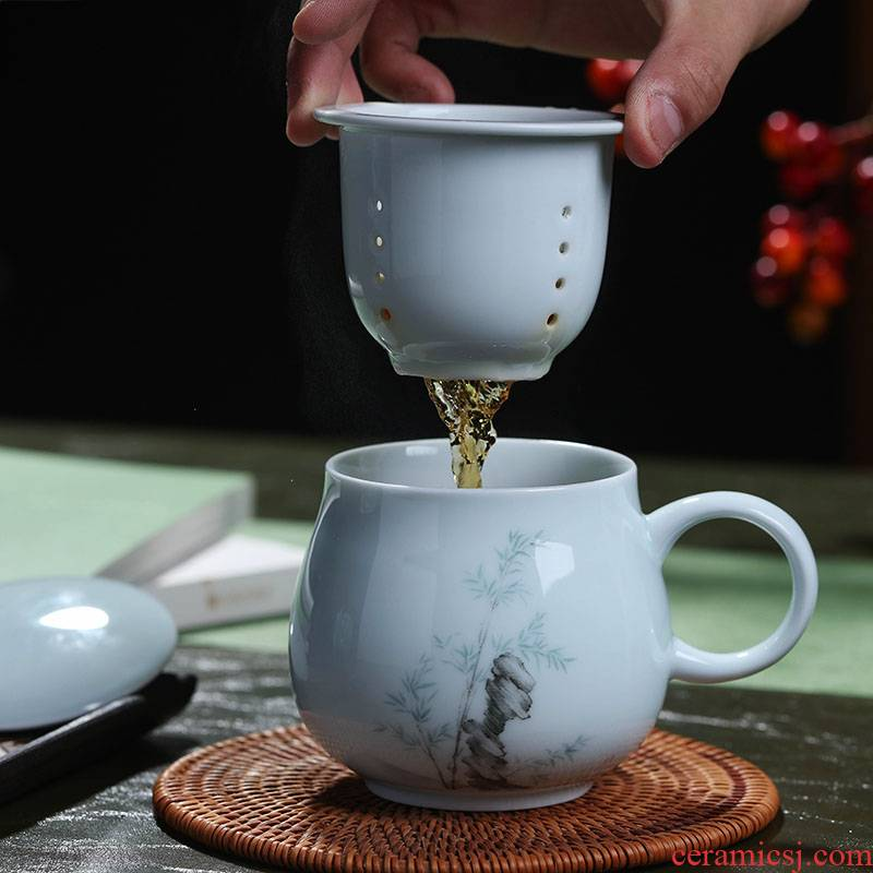 Catalpa xin jingdezhen ceramic cups with cover filter cup household drinking cup celadon lovely office gift mugs