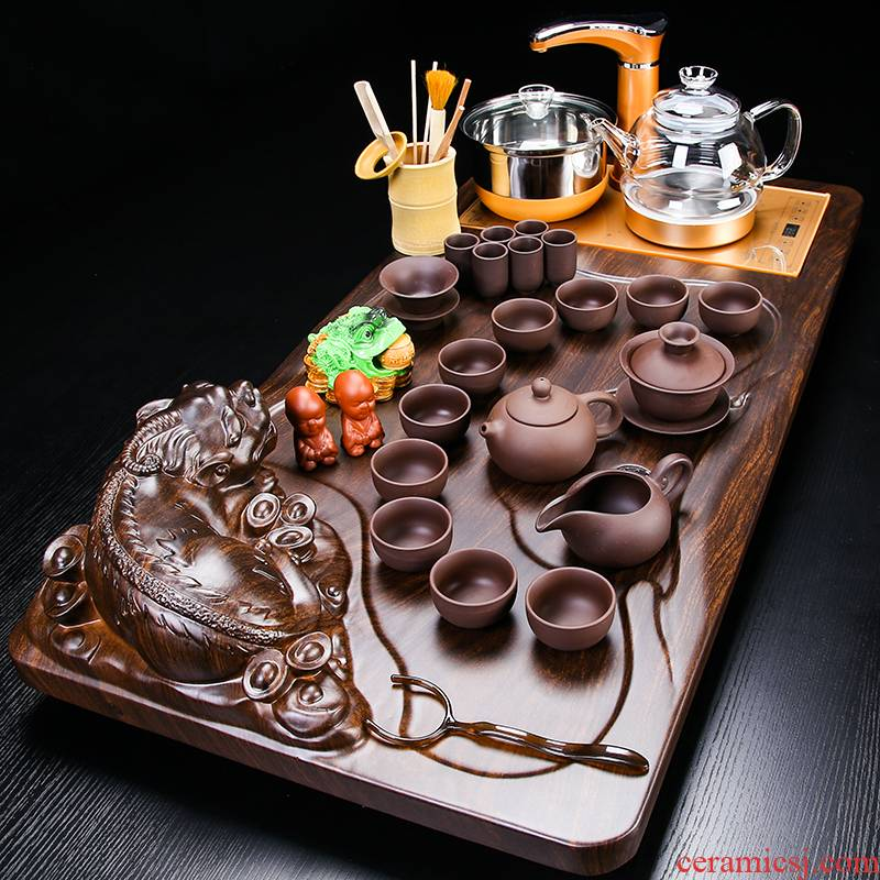 VSHOW automatic ceramic tea set kung fu contracted use ltd. automatic tea table of a complete set of solid wood tea tray
