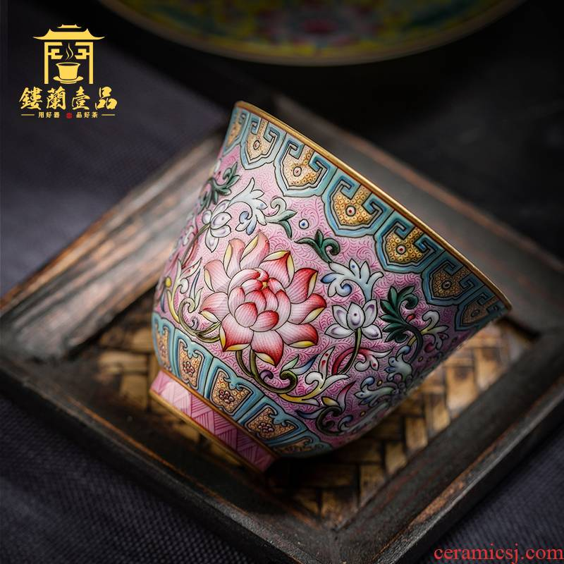 Jingdezhen all checking ceramic kung fu tea powder enamel bound branch bao master single cup tea sample tea cup individual cup