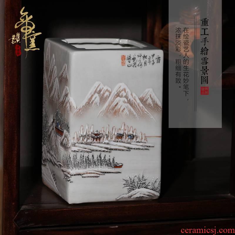 Jingdezhen ceramics snow creative antique gift pen container vases, flower receptacle office decoration decoration