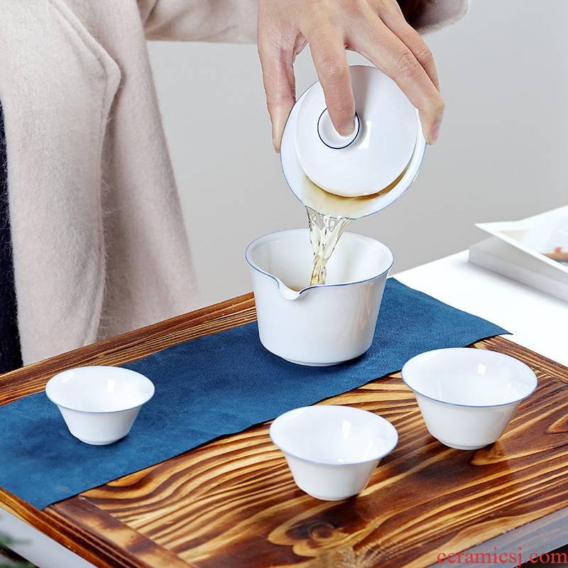 Friends are portable travel tea set ceramic cups kungfu teapot to crack a pot of three a fair keller