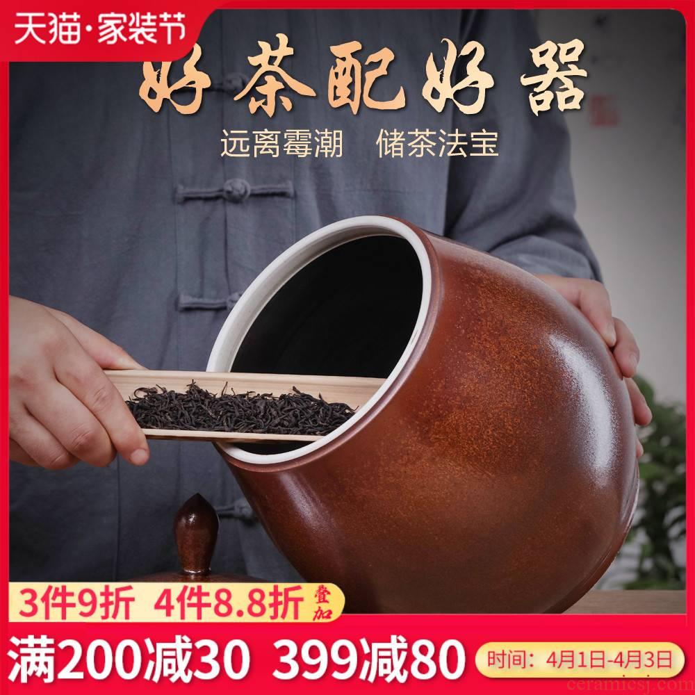 Jingdezhen porcelain ceramic super - sized about 50 jins of puer tea caddy fixings piggy bank home moisture storage jar