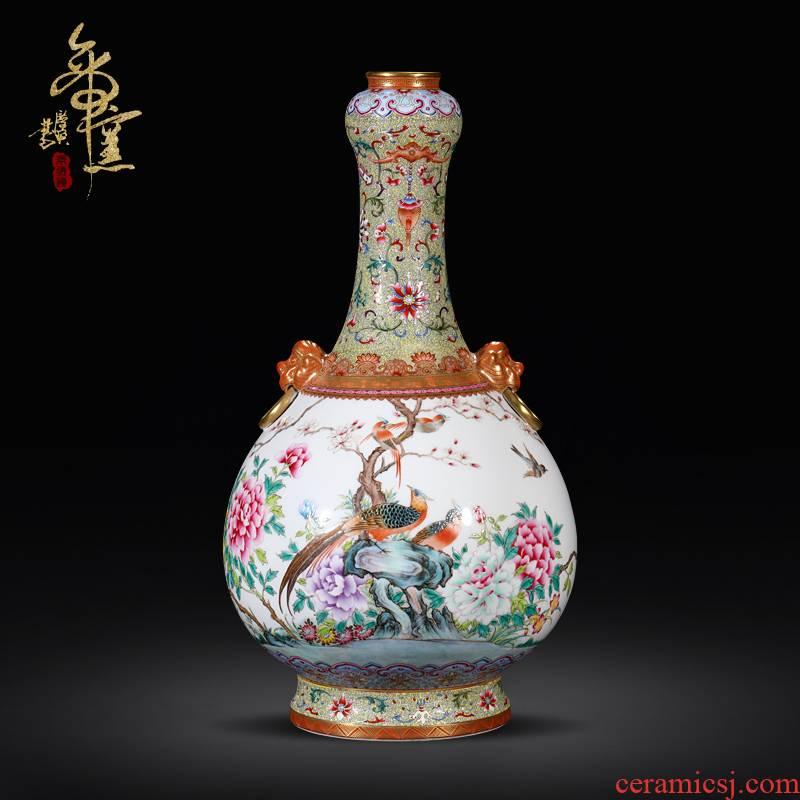 Imitation the qing qianlong emperor up jingdezhen ceramics powder enamel lion ear vase furnishing articles Chinese flower arranging machine sitting room