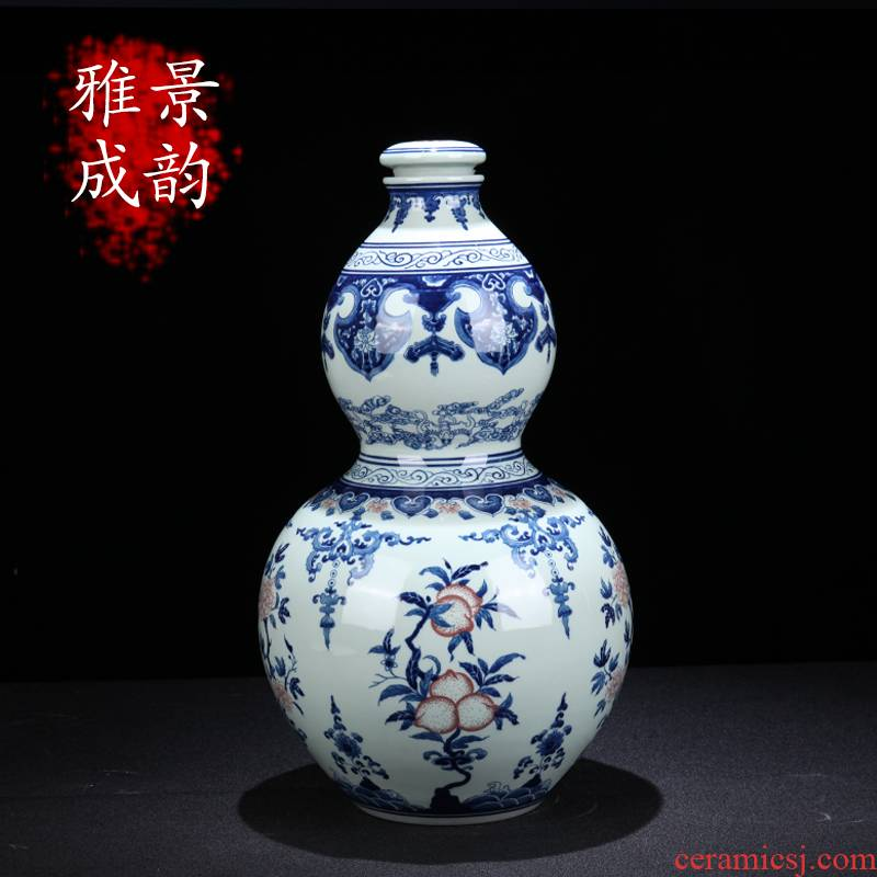 Jingdezhen ceramic youligong bottle gourd bottle home sitting room porch of blue and white porcelain vase decoration furnishing articles