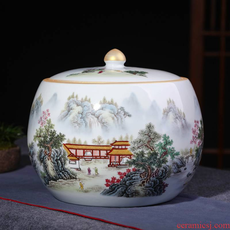 Jingdezhen ceramic barrel ricer box 10 jins 20 jins to household with cover storage tank moistureproof insect - resistant seal caddy fixings