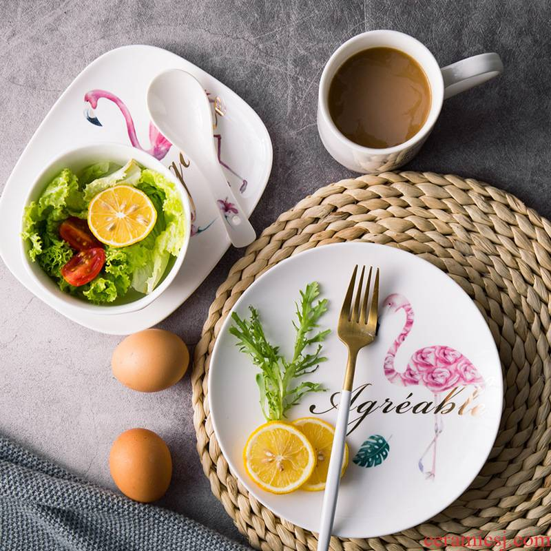 Love graces contracted fashion creative flamingos literary rural wind ceramic plates home breakfast dishes cup