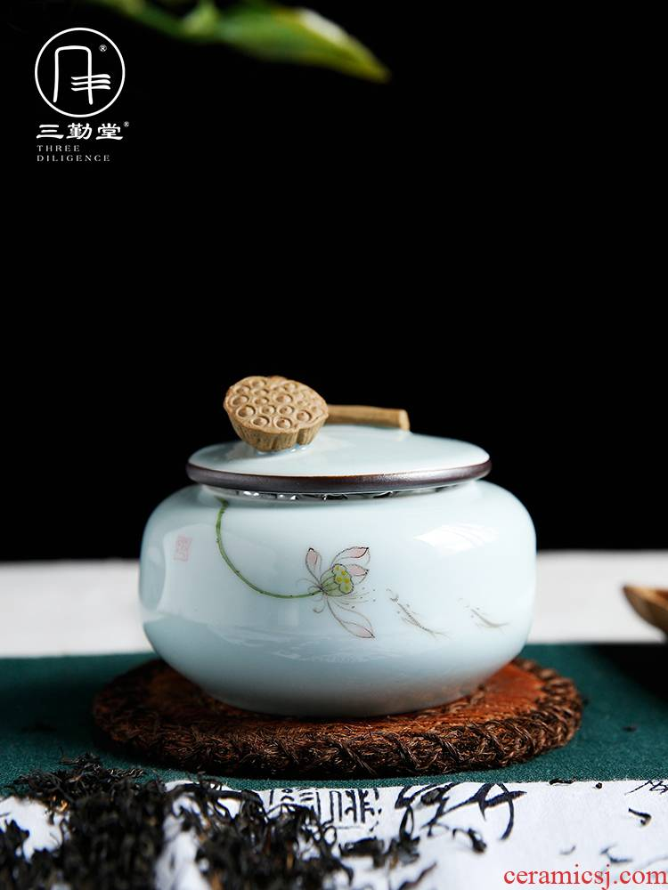 The three regular caddy fixings medium ceramic tea box storehouse of jingdezhen tea service manual lotus POTS sealed as cans