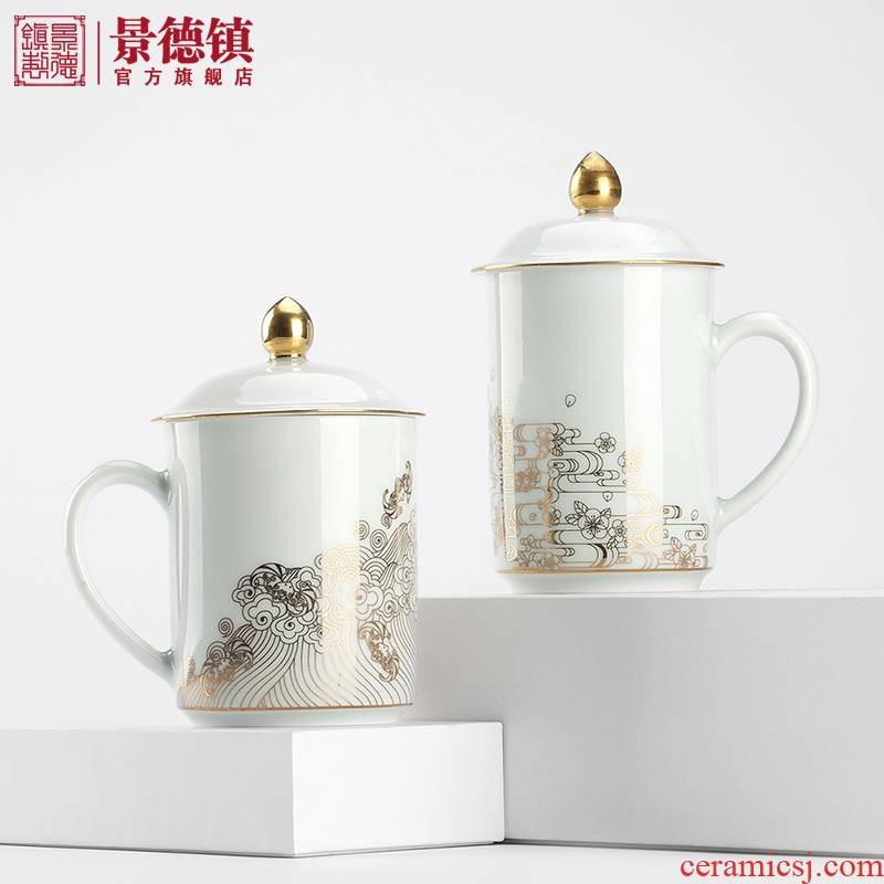 Jingdezhen flagship store ceramic paint office meeting drinking cup with cover business mark cup with gift cups