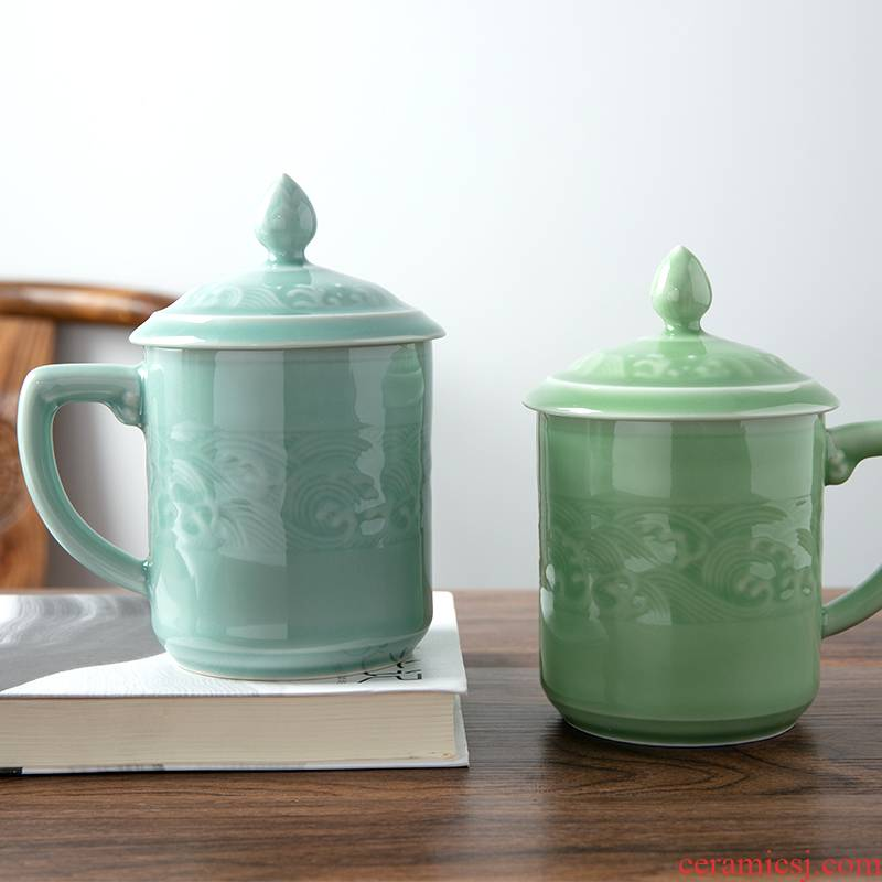 Longquan celadon household glass tea cup creative wave grain ceramic office large single cup and cup cup