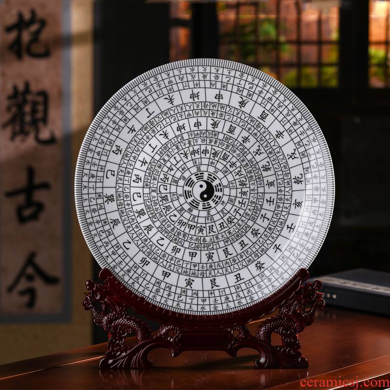 Jingdezhen ceramic taiji eight diagrams household decorate dish by dish hang dish the sitting room porch decoration furnishing articles