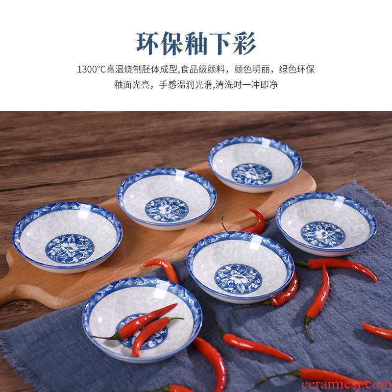 10 only to dip in flavor dish of household ceramic plates of blue and white porcelain plate ipads plate tableware creative little dish dish dish plate