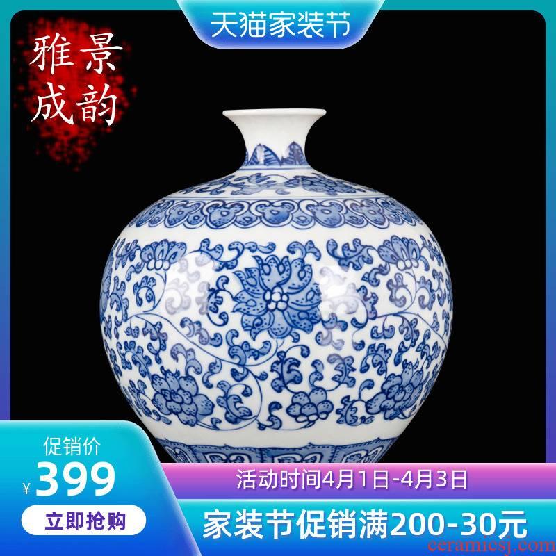 Jingdezhen ceramic Chinese style furnishing articles furnishing articles home sitting room is blue and white porcelain vase decorations arts and crafts porcelain