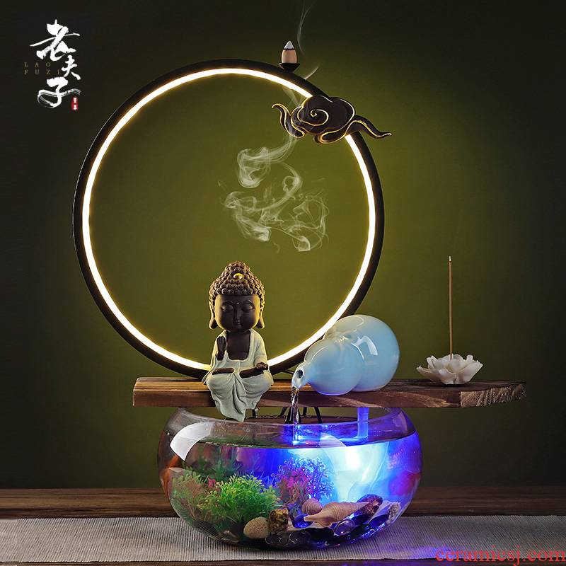 Chinese water device indoor humidifying furnishing articles circulating pump creative ceramic zen living room opening home office