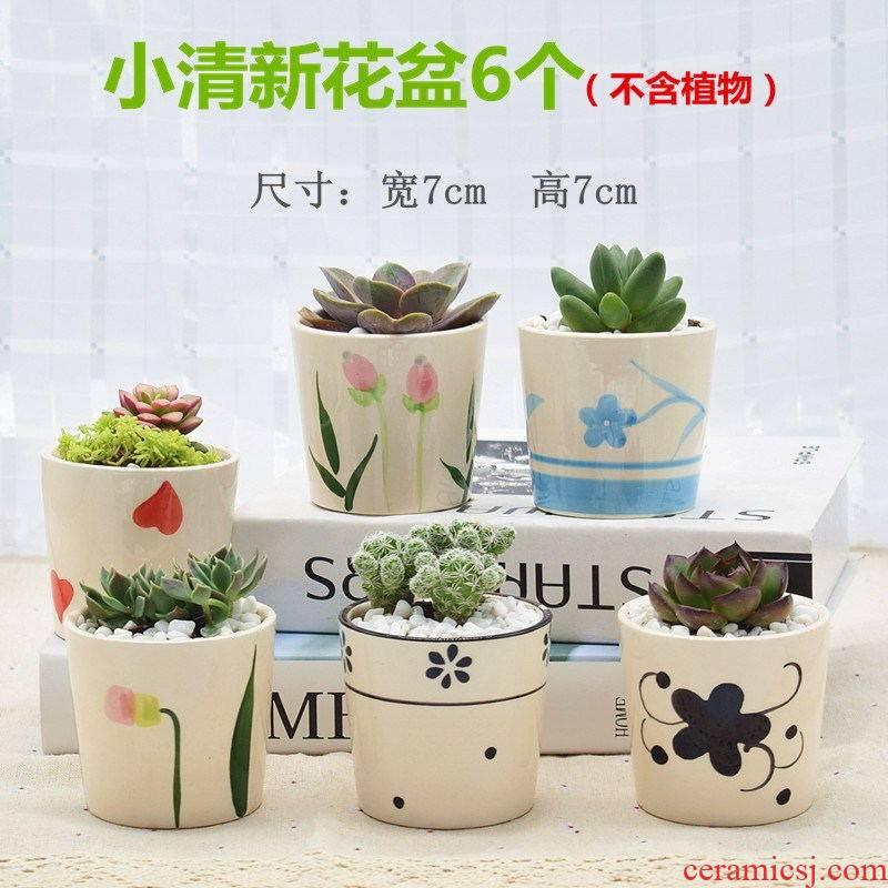 Korean fleshy flowerpot coarse TaoLiu basin character miniature ceramic glaze, thumb flowerpot breathable flower pot