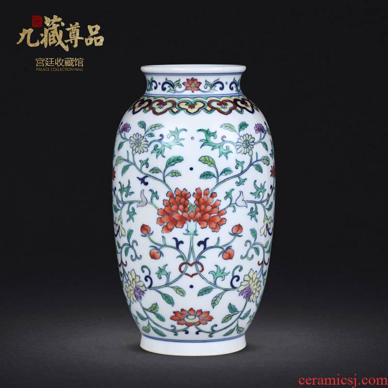 Jingdezhen blue and white hand - made ceramic bucket color flower vase furnishing articles archaize porcelain Jingdezhen pure manual