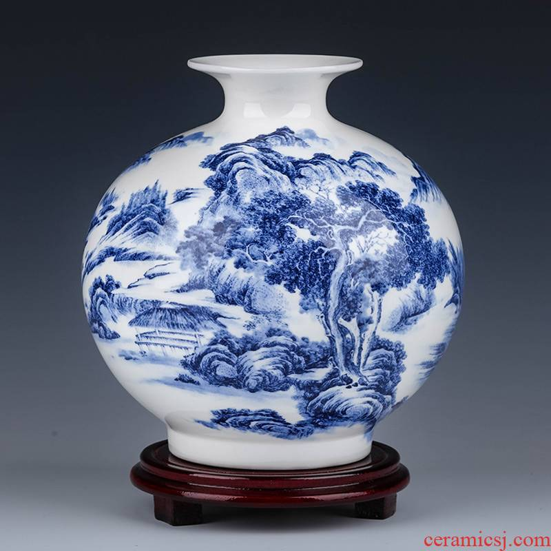 Jingdezhen ceramic blue and white porcelain vases, flower arrangement furnishing articles sitting room home TV ark, study Chinese decorative arts and crafts