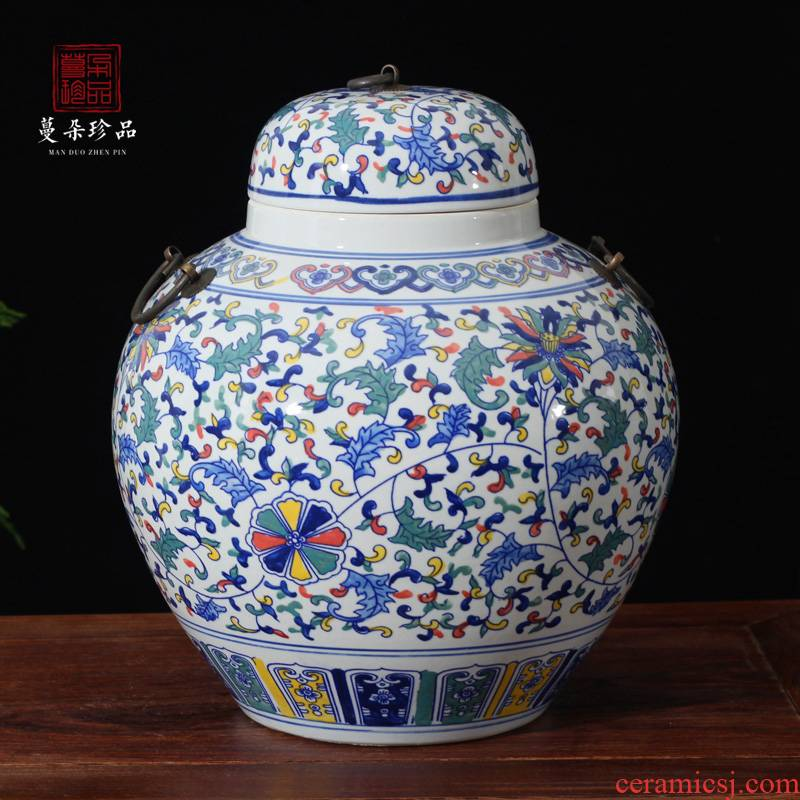 Jingdezhen colorful porcelain cover high - grade rich ancient frame cabinet display ancient ceramic pot sugar bowls porcelain jar