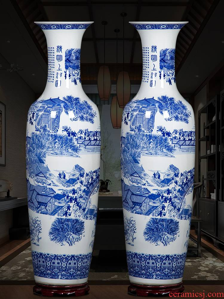 Hand - made ching Ming blue and white porcelain is jingdezhen ceramics vase painting of large sitting room adornment is placed large extra large