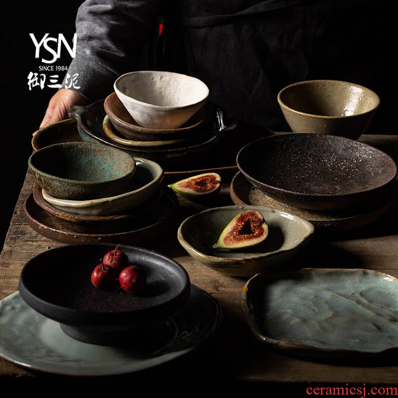 Orphan works, creative home ancient ceramic tableware by hand Japanese dishes retro coarse pottery and porcelain dish dish plate