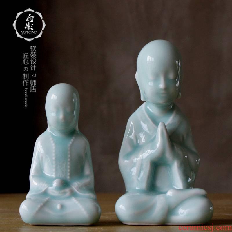 Rain tong home   jingdezhen ceramics manual shadow celadon household decorative furnishing articles anddrunkenness ceramic decoration process