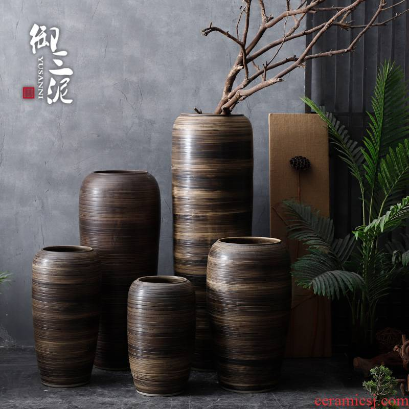 The Big vase landing large rural Chinese style restoring ancient ways is inserted dried flowers line coarse pottery sitting room hotel villa ceramic furnishing articles