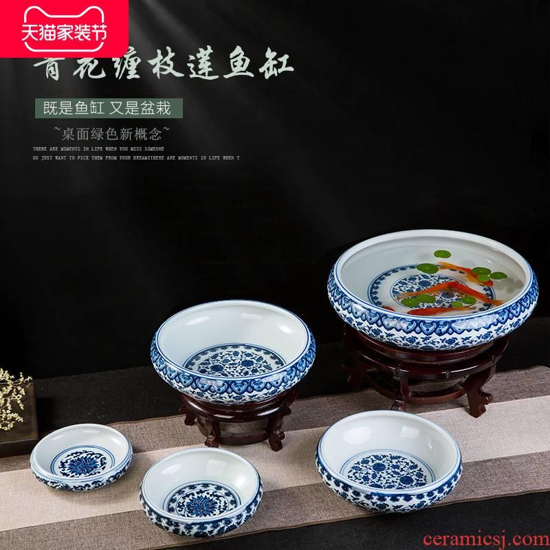 Jingdezhen ceramics tea table ashtray creative modern living room office furnishing articles writing brush washer aquarium theme restaurant