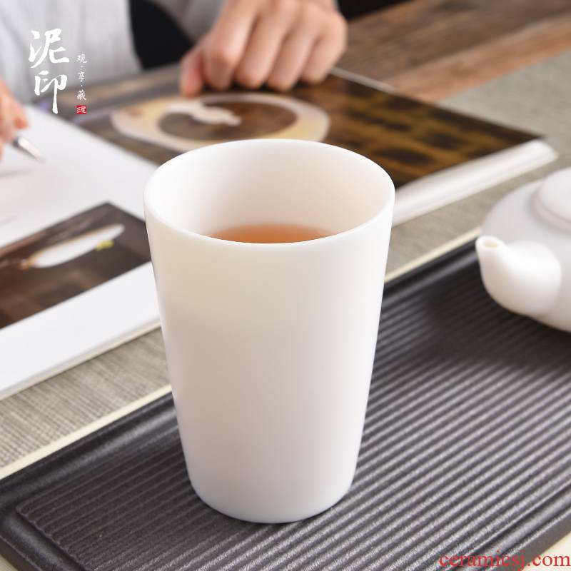 Mud printing ceramic cups male household dehua white porcelain cup warm hand contracted large glass office getting tea cups
