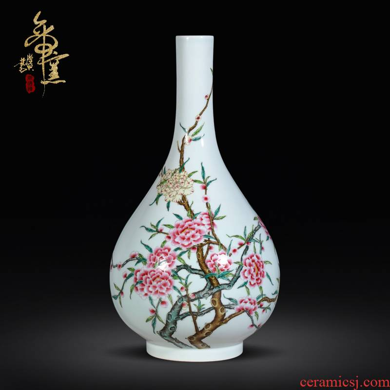 Jingdezhen famille rose porcelain the qing yongzheng Chinese vase ceramic miles peach blossom put sitting room porch decoration crafts
